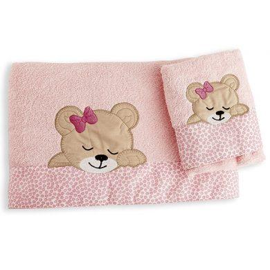 ΣΕΤ ΠΕΤΣΕΤΕΣ ΒΡΕΦΙΚΕΣ 2 ΤΕΜΑΧΙΩΝ Dim Collection ΜΕ ΚΕΝΤΗΜΑ ΚΑΙ ΦΑΣΑ - Sleeping Bear Cub - Ροζ