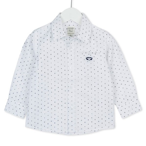 ΠΟΥΚΑΜΙΣΟ LOSAN Chic Collection - White Cotton Long Sleeve Shirt With Print
