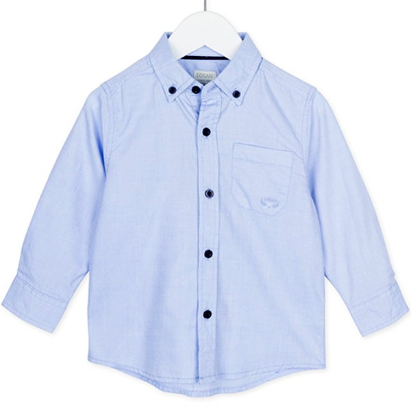 ΠΟΥΚΑΜΙΣΟ LOSAN Chic Collection - White And Blue Oxford Shirt With Long Sleeves And Pocket.