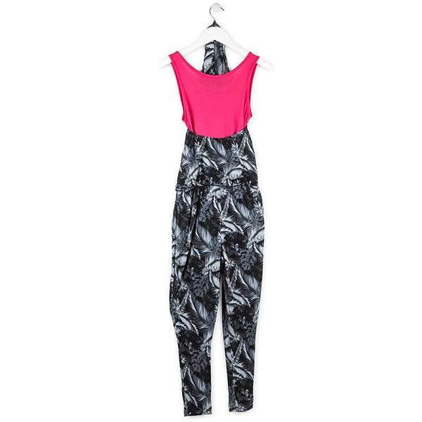 ΣΑΛΟΠΕΤΑ LOSAN ΕΦΗΒΙΚΗ - Black Floral Long Overall With Mock Undershirt