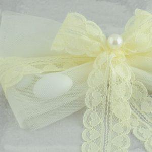 Μπομπονιέρα Γάμου Τούλι Γαλλικό Δαντέλα και Πέρλα MPO401