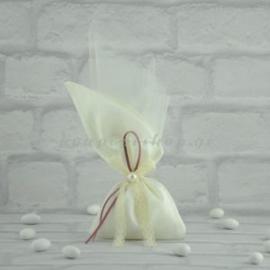 Μπομπονιέρα Γάμου Πουγκί Σατέν με Γαλλικό Τούλι και Πέρλα MPO304