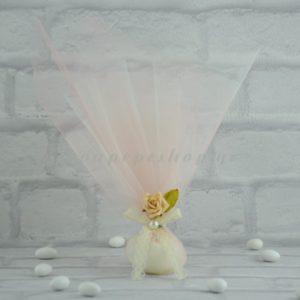 Μπομπονιέρα Γάμου με διπλό τούλι στολισμένη με /Ανθάκι/Δαντέλα /Πέρλα MPO304