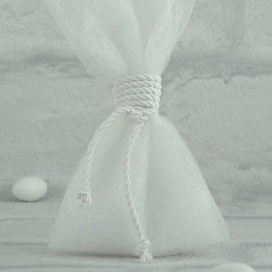 Μπομπονιέρα Γάμου με Τούλι, Δυκτιοτό και Κορδόνι MPO104