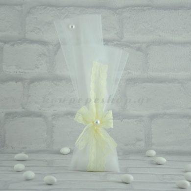 Μπομπονιέρα Γάμου με Οργάντζα, Δαντέλα και Πέρλα MPO105