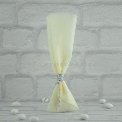 Μπομπονιέρα Γάμου με Οργάντζα Υφασμα και Κορδόνι MPO205