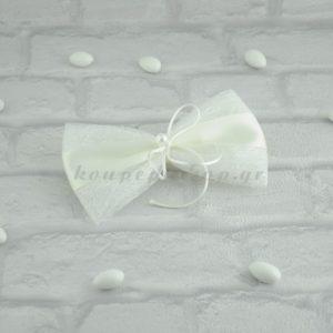 Μπομπονιέρα Γάμου Υφασμα Δυκτιοτό Κορδέλα Σατέν και Πέρλα MPO403