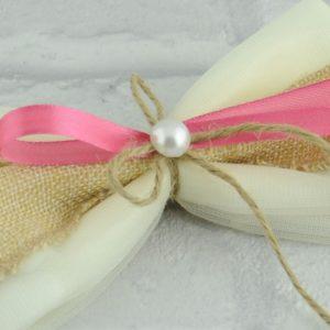 Μπομπονιέρα Γάμου Φιόγκος Οργάντζα Υφασμα Καμβάς Λινάτσα και Πέρλα MPO404