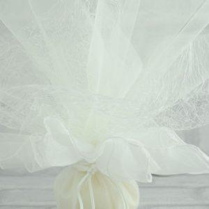 Μπομπονιέρα Γάμου Πουγκί Οργαντέ με Τούλι Δυκτιοτό και Τούλι Γαλλικό MPO107