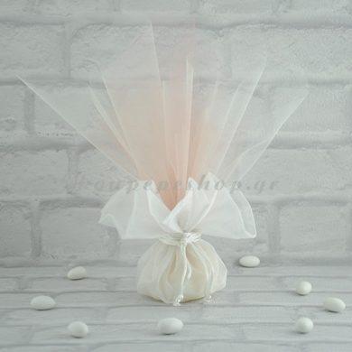 Μπομπονιέρα Γάμου Πουγκί Οργαντέ με Τούλι Γαλλικό MPO10